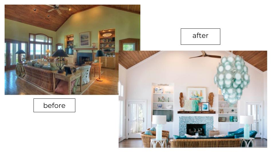 before after pic of fireplace with live edge wood renovation