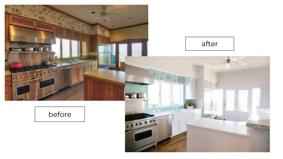 bright coastal kitchen makeover blue glass tile backsplash stainless steel appliance
