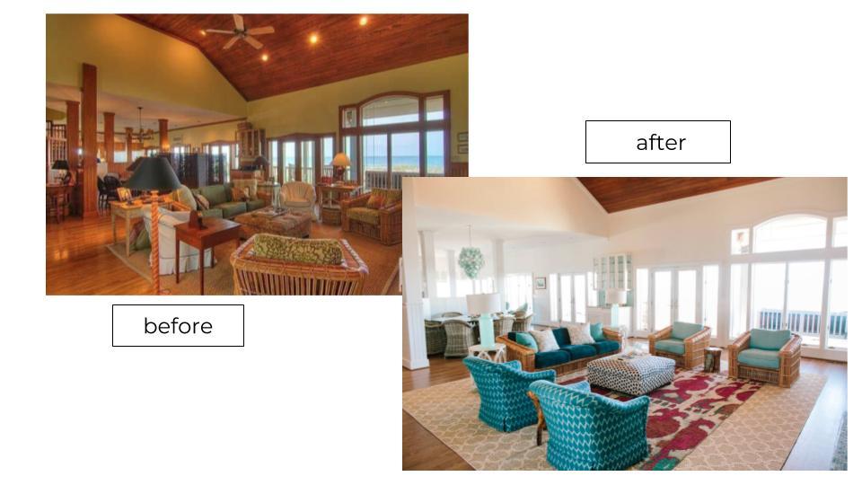 massive living room kitchen coastal design makeover