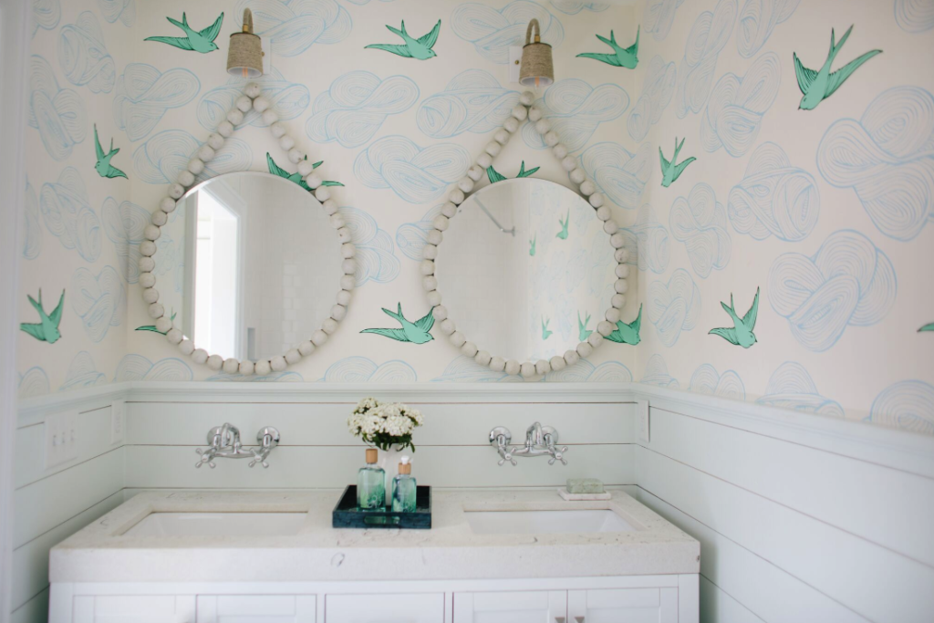 gender neutral whimsical wallpaper kids bathroom designs