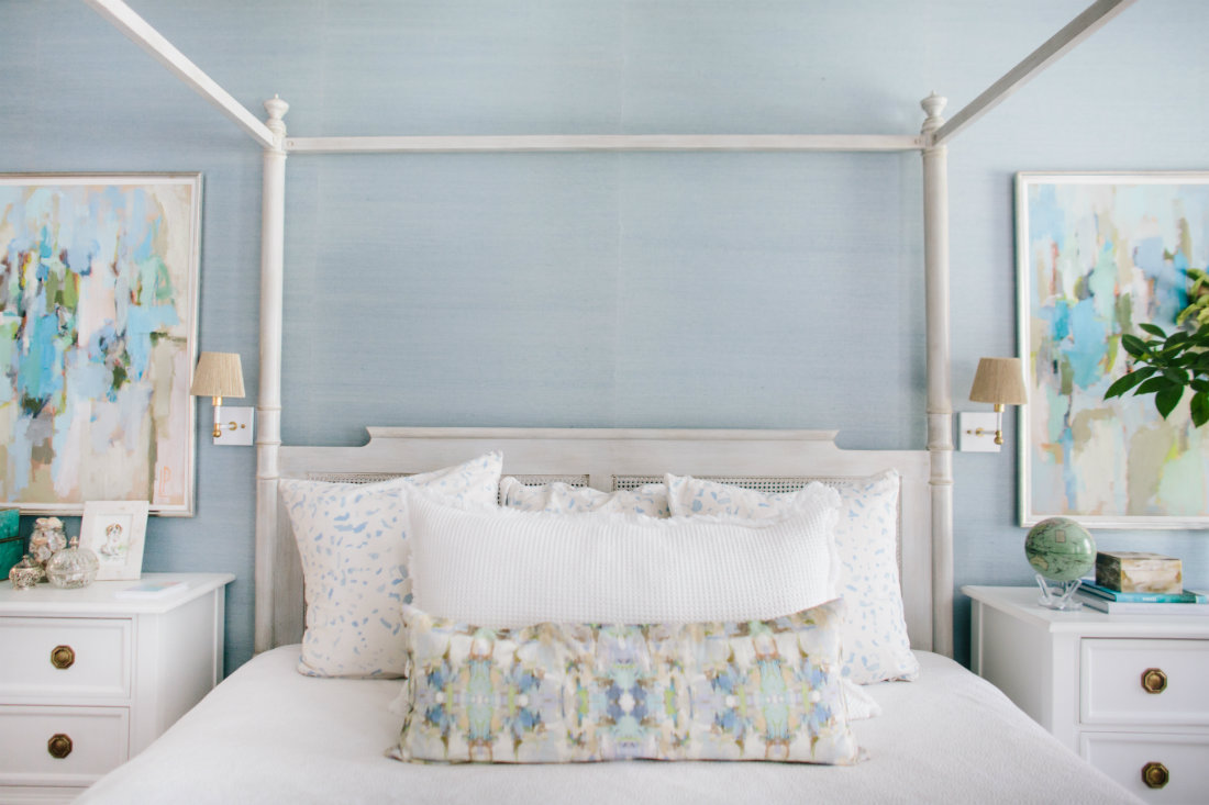 wilmington-nc-master-bedroom-white-post-bed-gathered