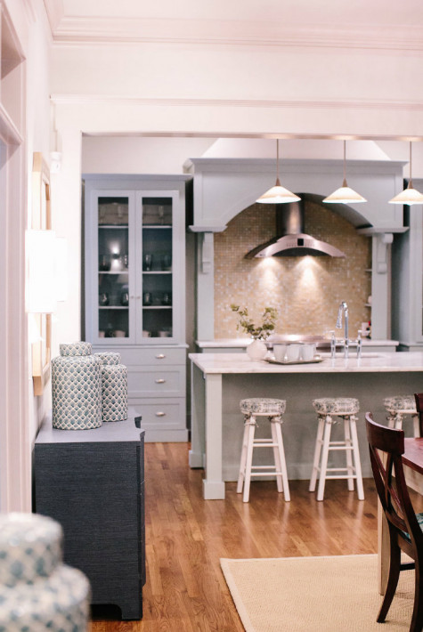 blue-wood-cabinets-kitchen-stainless-stove-hood