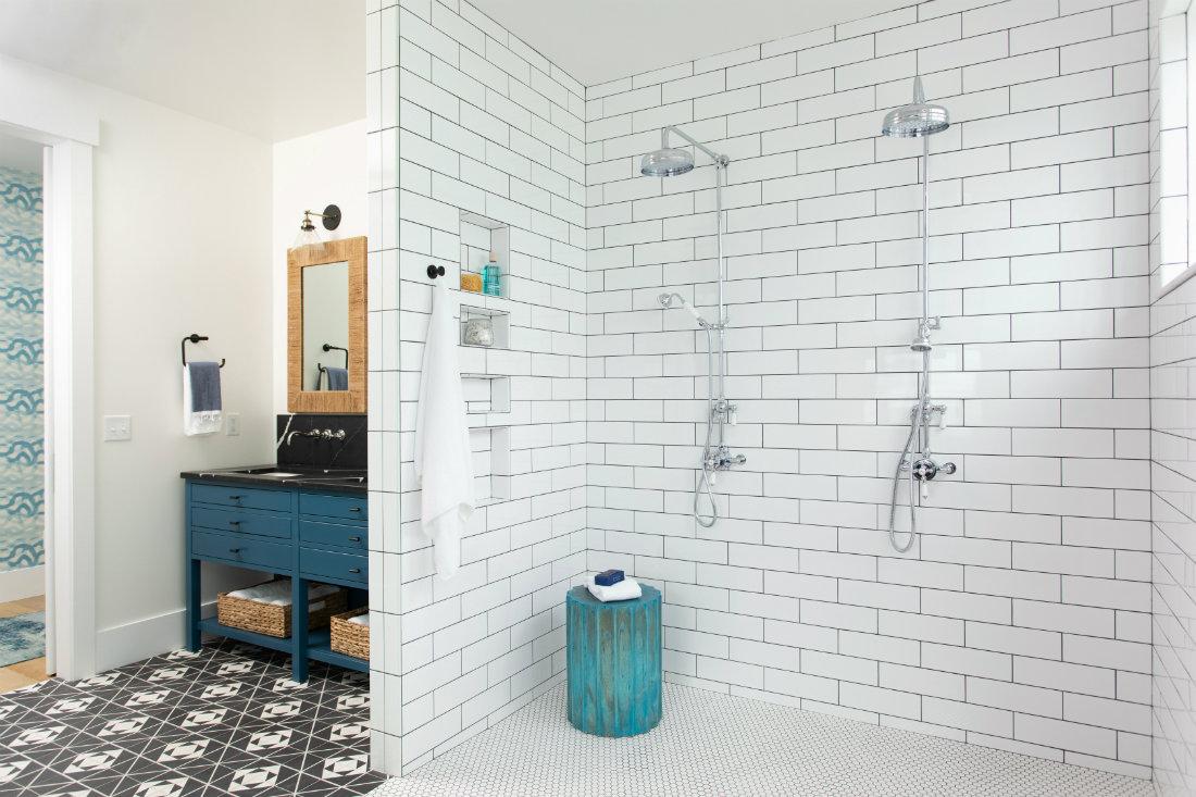 large-shower-white-tile-dual-showerheads