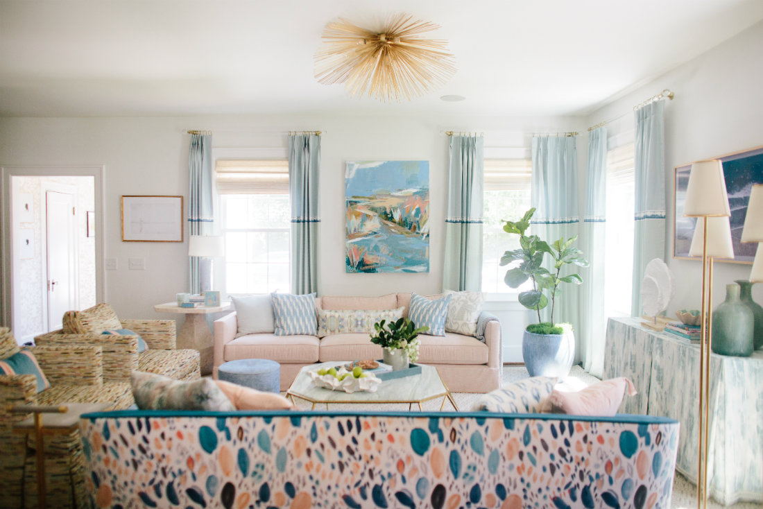 teal-couch-pattern-back-beach-decor-living-room-gathered-interior-design