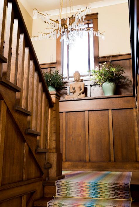wooden-staircase-rainbow-carpet-gathered-interior-design