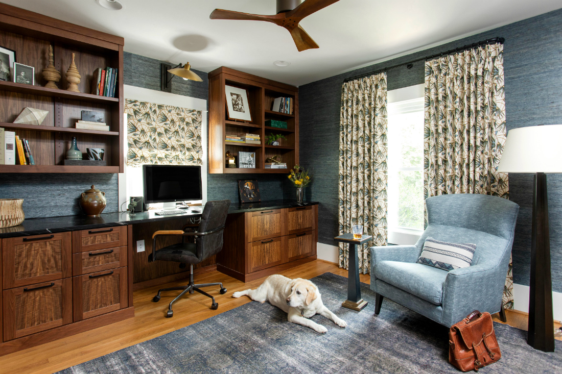home-office-room-wood-shelves-dog-chapel-hill-nc-interior-design