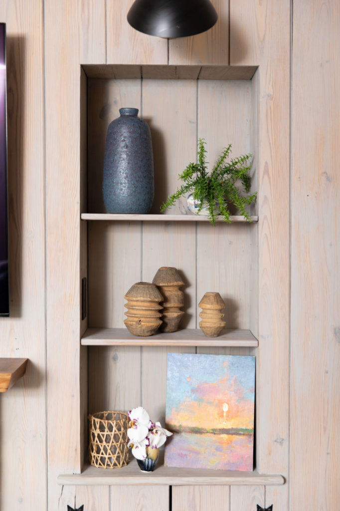 Gathered Interior Design Shelves With Artwork
