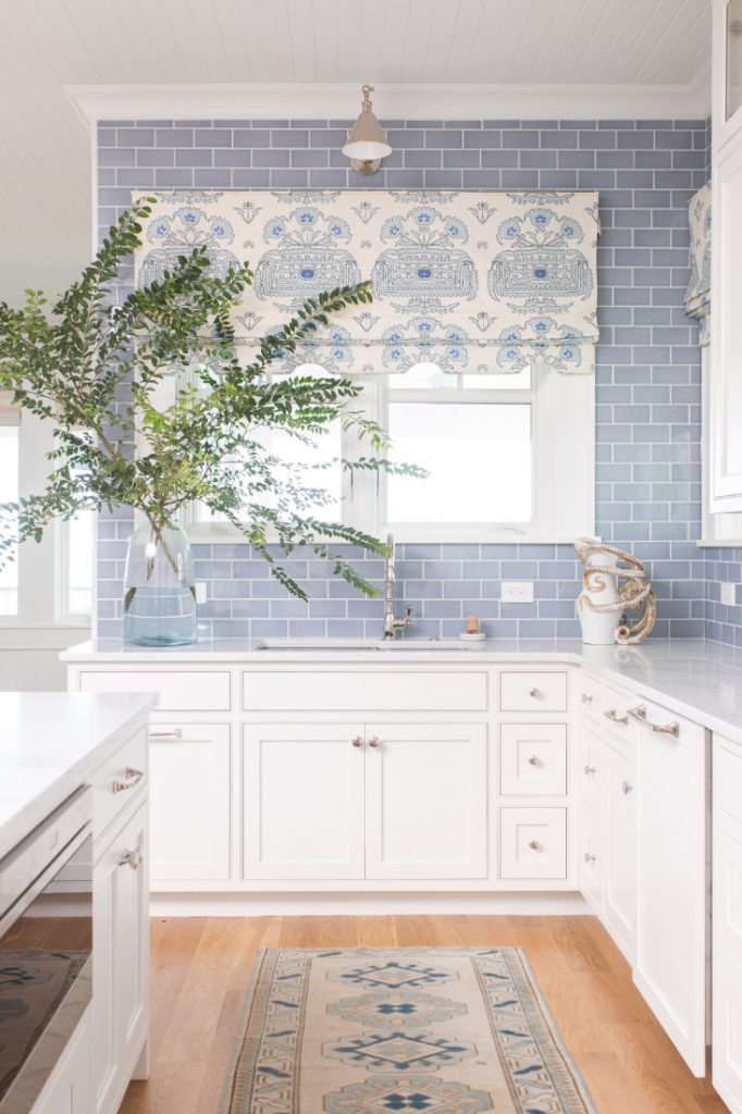 Kitchen Blue Tile White Cabinets Gathered Nc 1