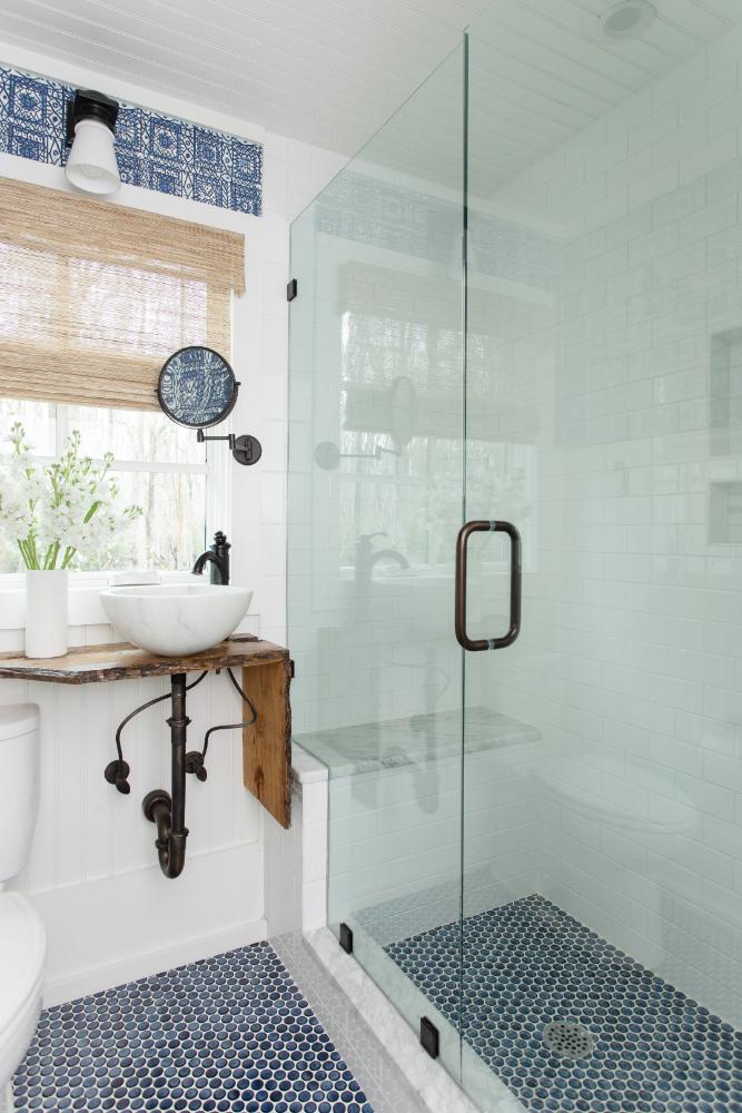 Bathroom Shower Tile Floor Natural Wood Sink Counter Gathered