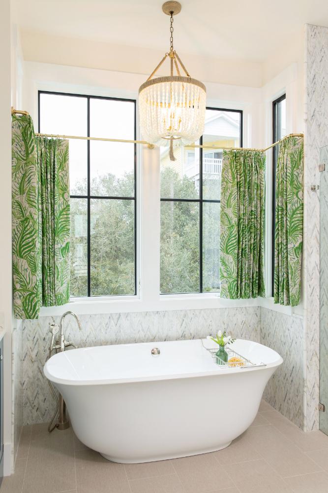 Bathtub Green Window Treatments Gathered Interior Design Nc