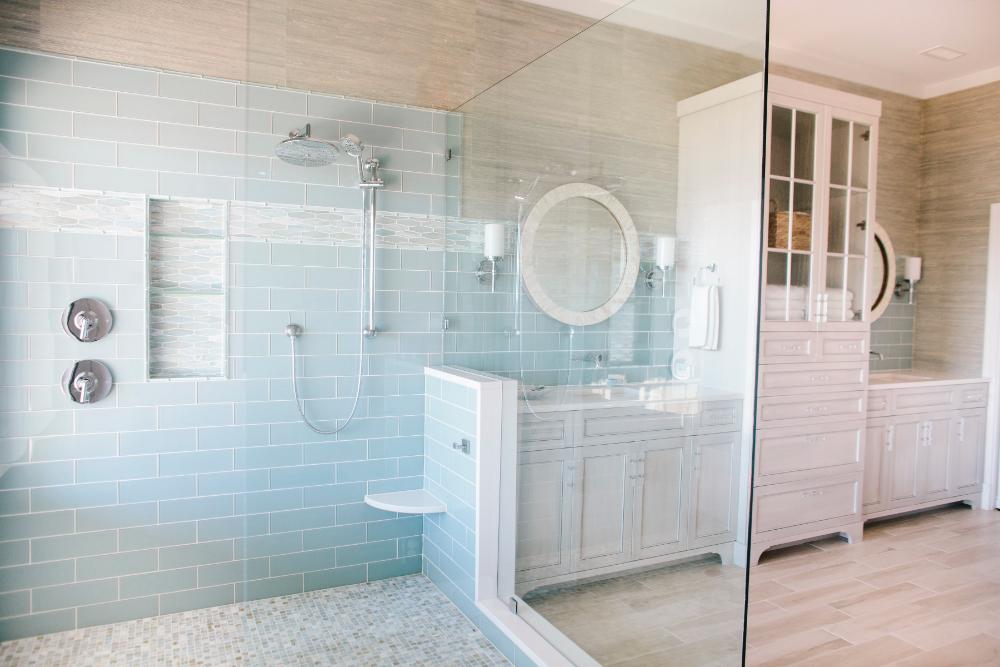 Sellers Tile Gathered Interior Design Bathroom Shower Glass Wall