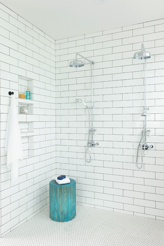 White Subway Tile Dual Shower Head