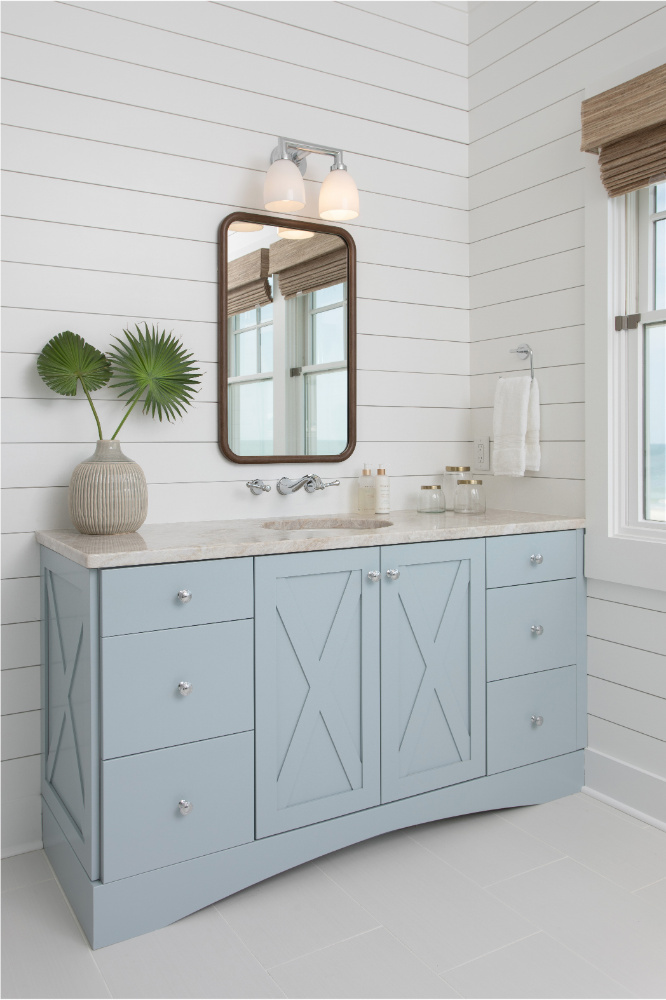 Baby Blue Bathroom Cabinetry Gathered Interior Design 1