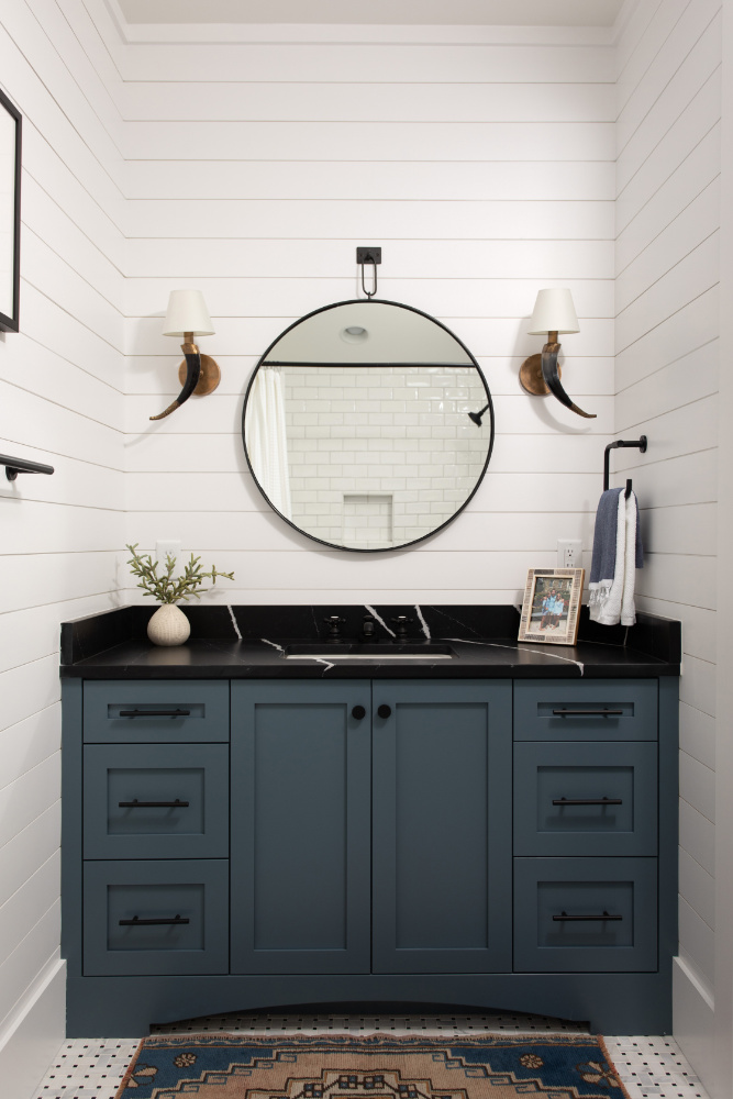 Dark Blue Black Countertop Bathroom Sink Vanity Mirror Shiplap