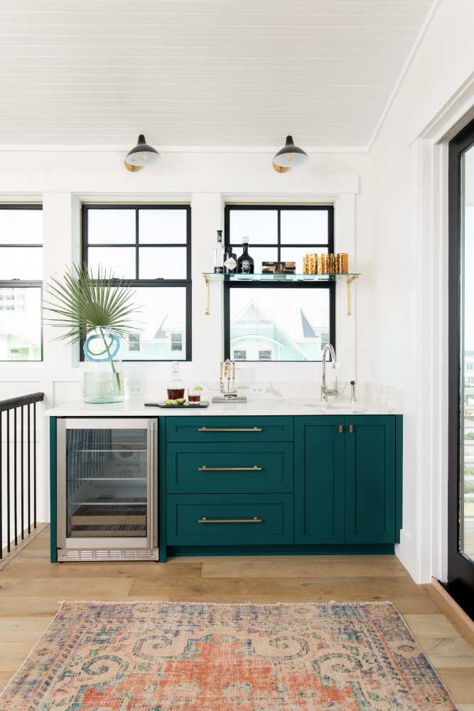 Gathered Interior Design Wet Bar Green Cabinets Gold Hardware
