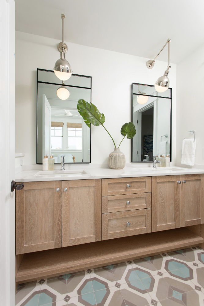 His And Hers Sinks Natural Wood Cabinets Bathroom Design
