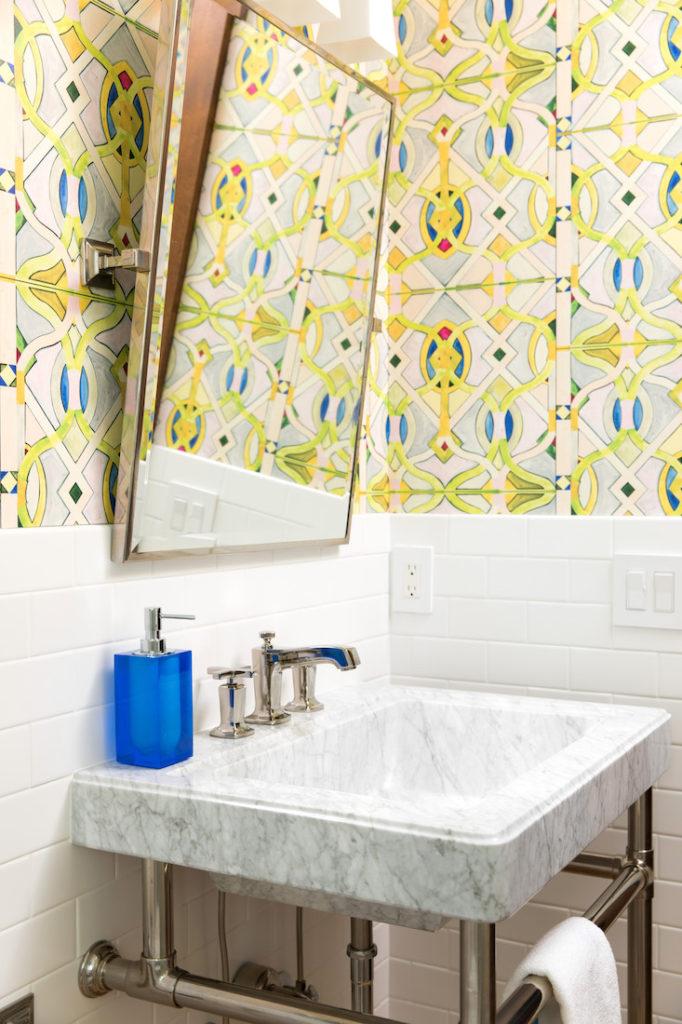 Gathered Powder Room Interior Design Wallpaper Pattern